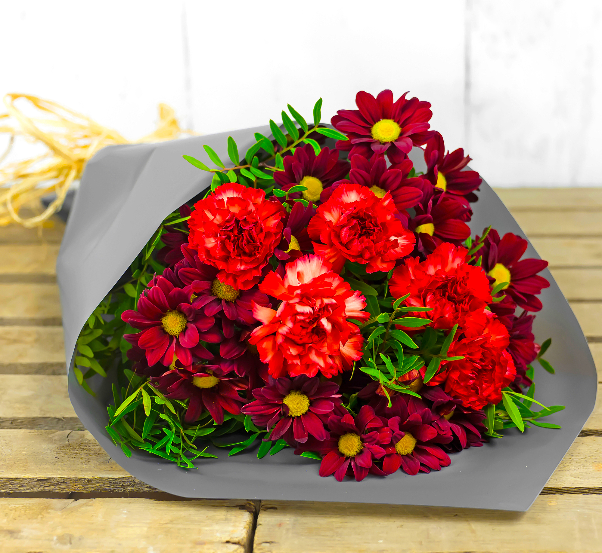 Magnificent – Flowers with Free Delivery - Chrysanthemums, Carnations and Pistacia – Anniversary Flowers