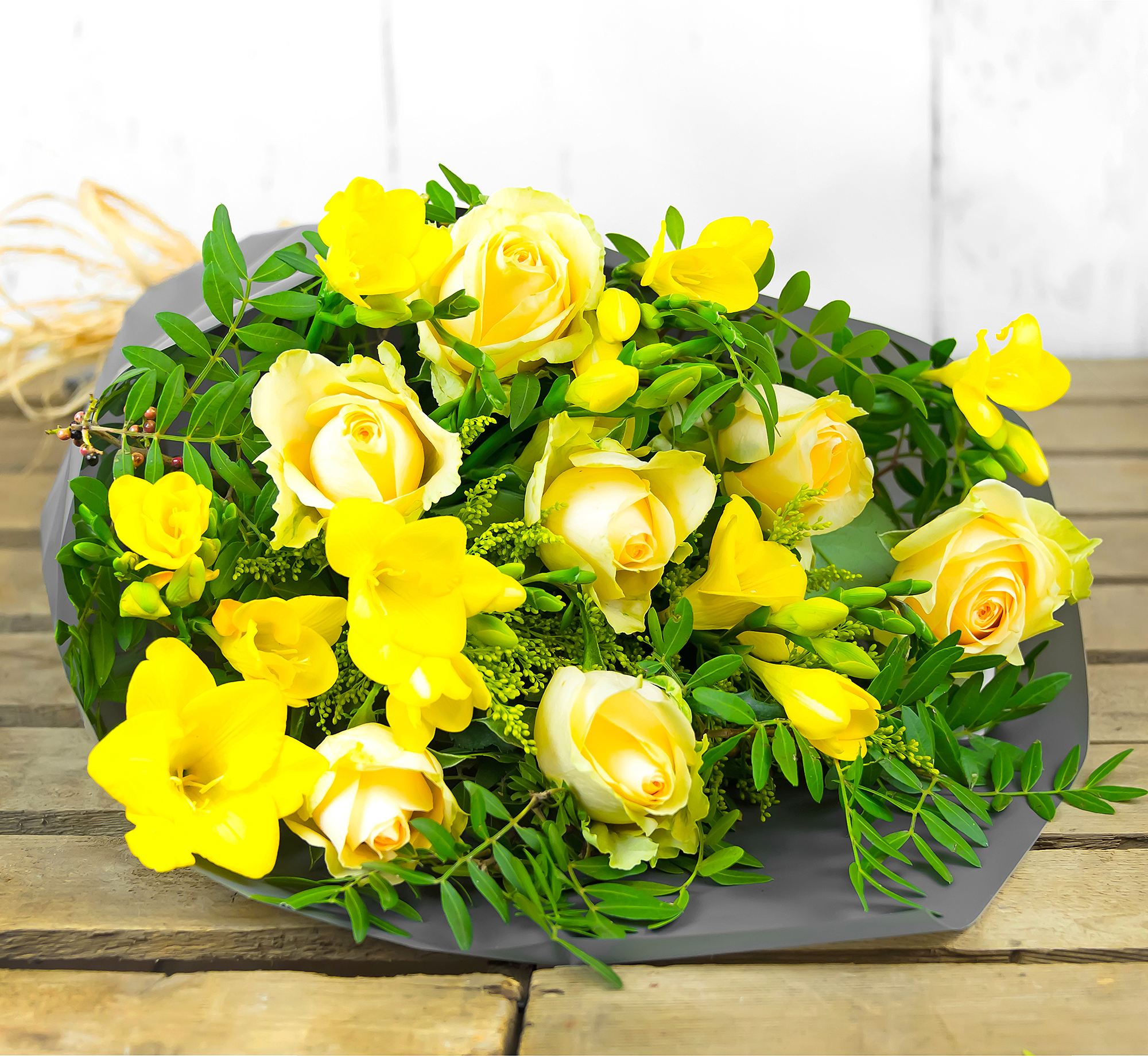 Rose and Freesia – Flowers with Free Delivery – Birthday Flowers – Flower Delivery by 123 Flowers