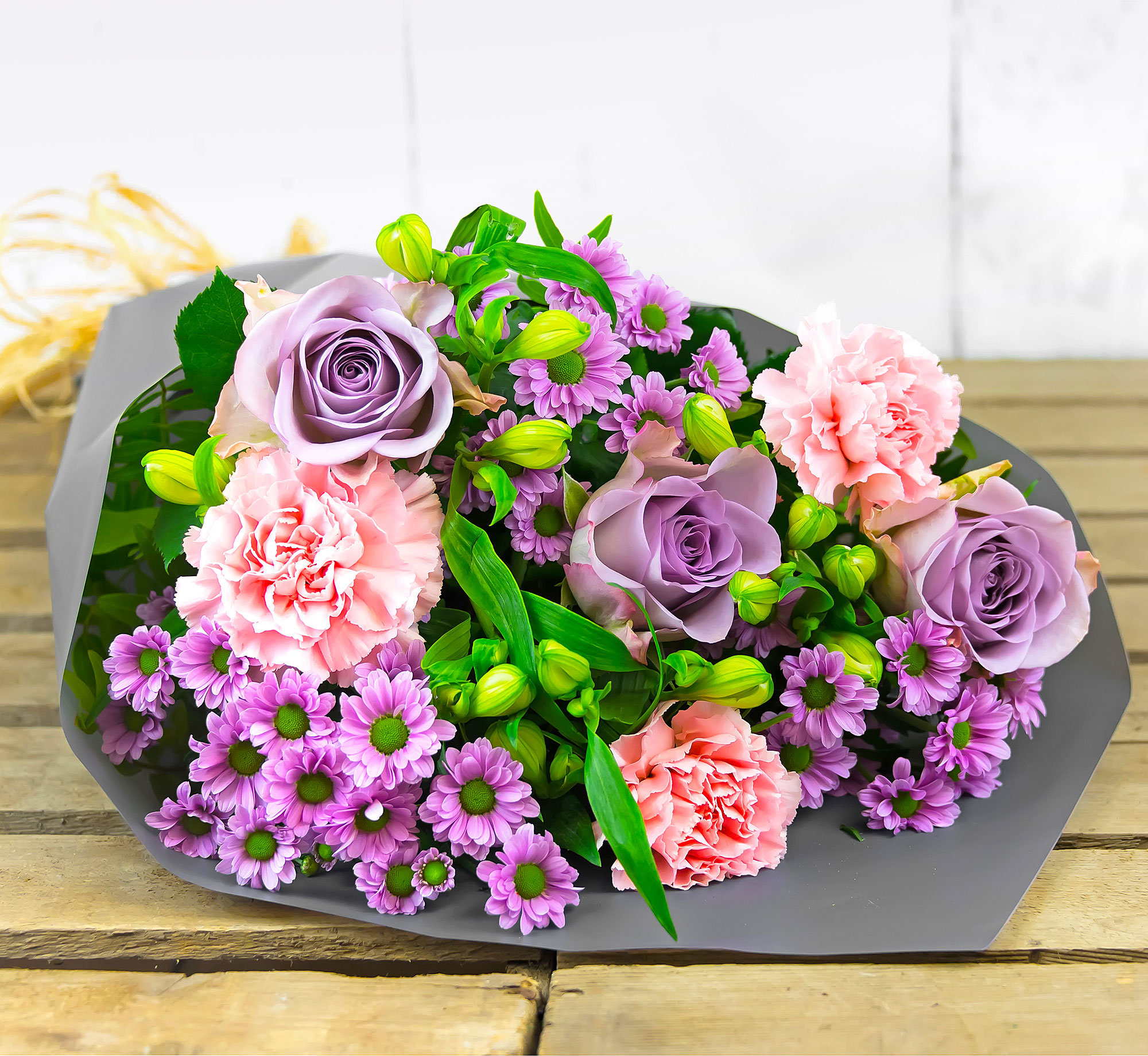 Pastel Pleasures – Free Delivery - Roses, Peruvian Lilies & Carnations – Birthday Flowers – Flower Delivery