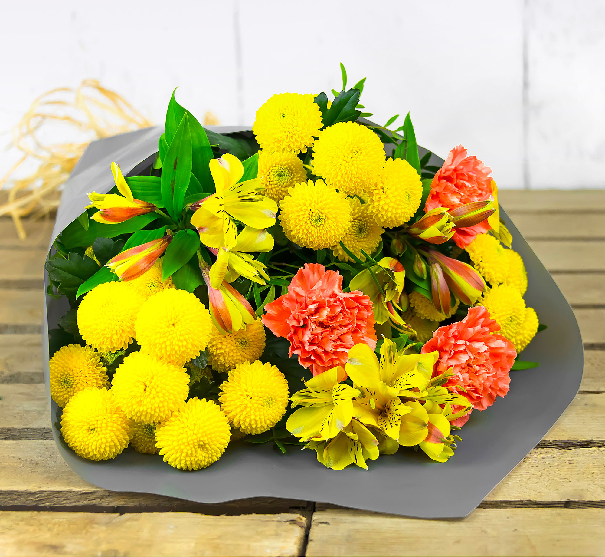 Glowing Grace – Free Delivery – Chrysanthemums, Peruvian Lilies and Carnations – Flower Delivery