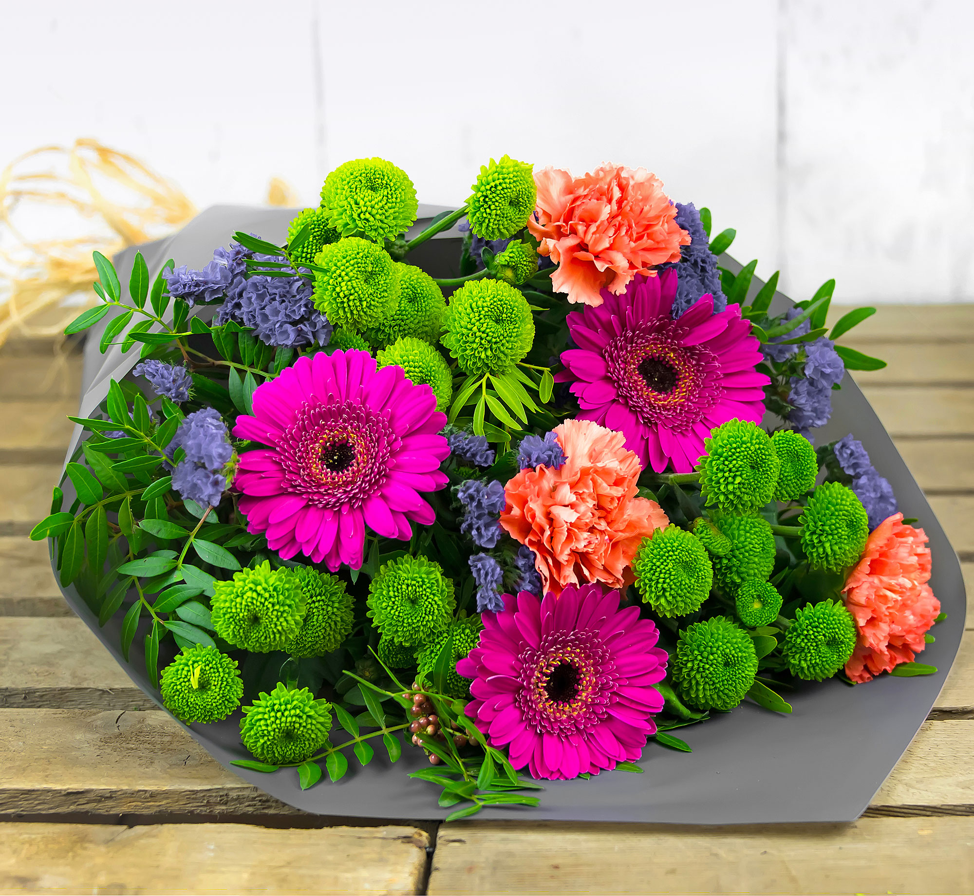 Happy Harmony – Free Delivery – Carnations, Germinis and Chrysanthemums – Flower Delivery