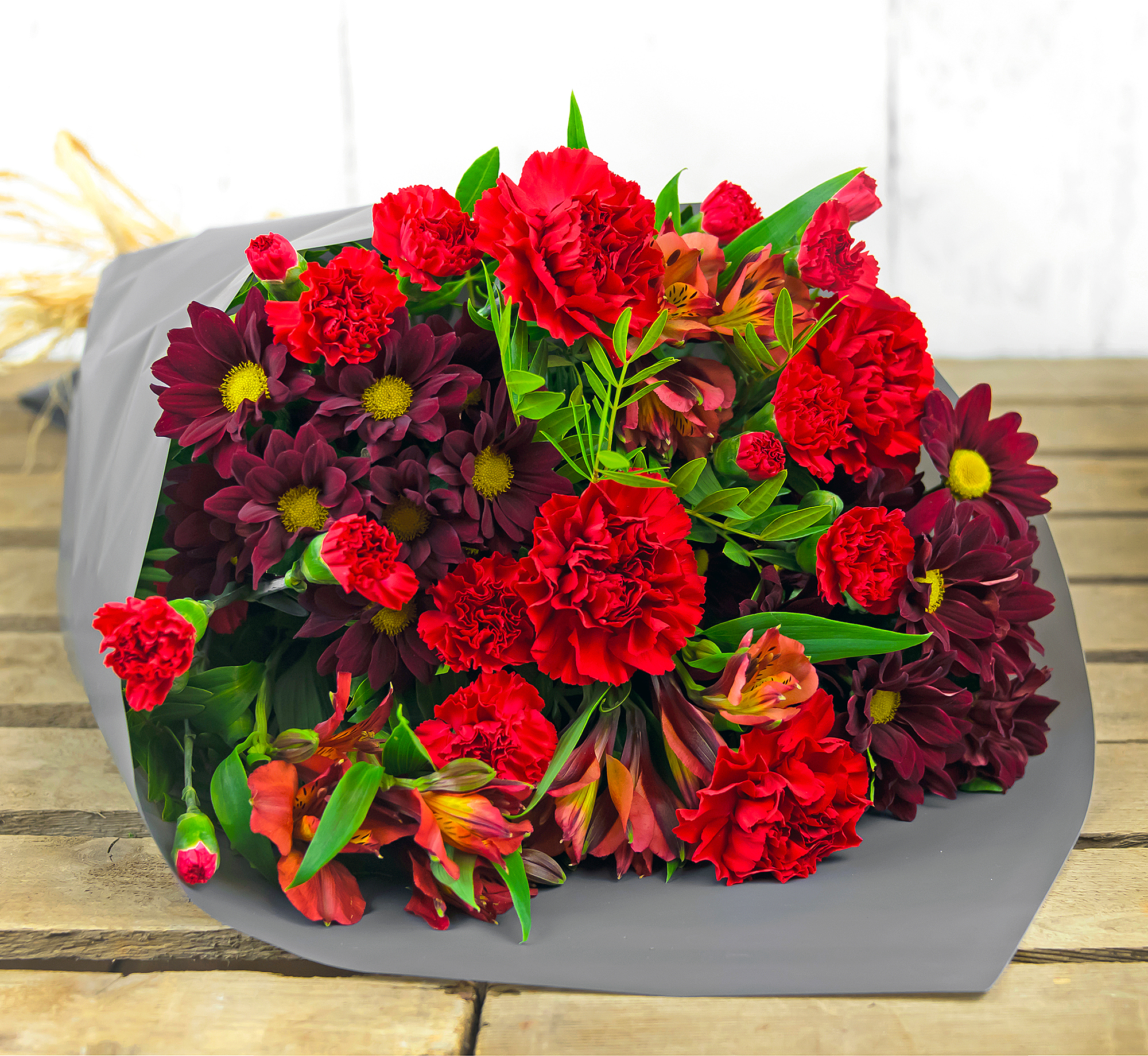 Vibrant Delight – Free Delivery - Carnations, Alstromeria and Chrysanthemums – Anniversary Flowers
