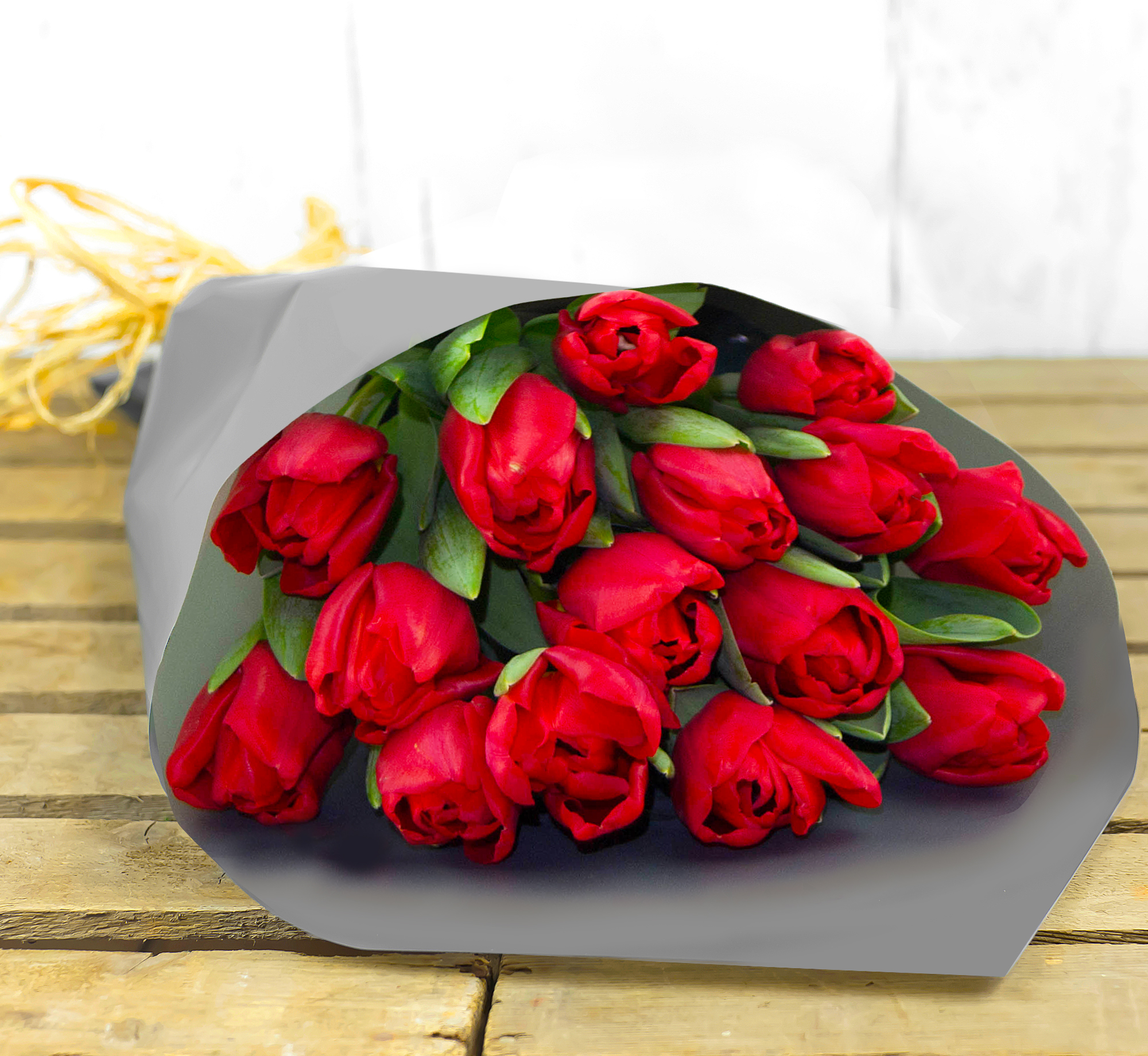 Luscious Tulips – Flowers with Free Delivery - Red Tulips Bouquet – Flower Delivery by 123 Flowers